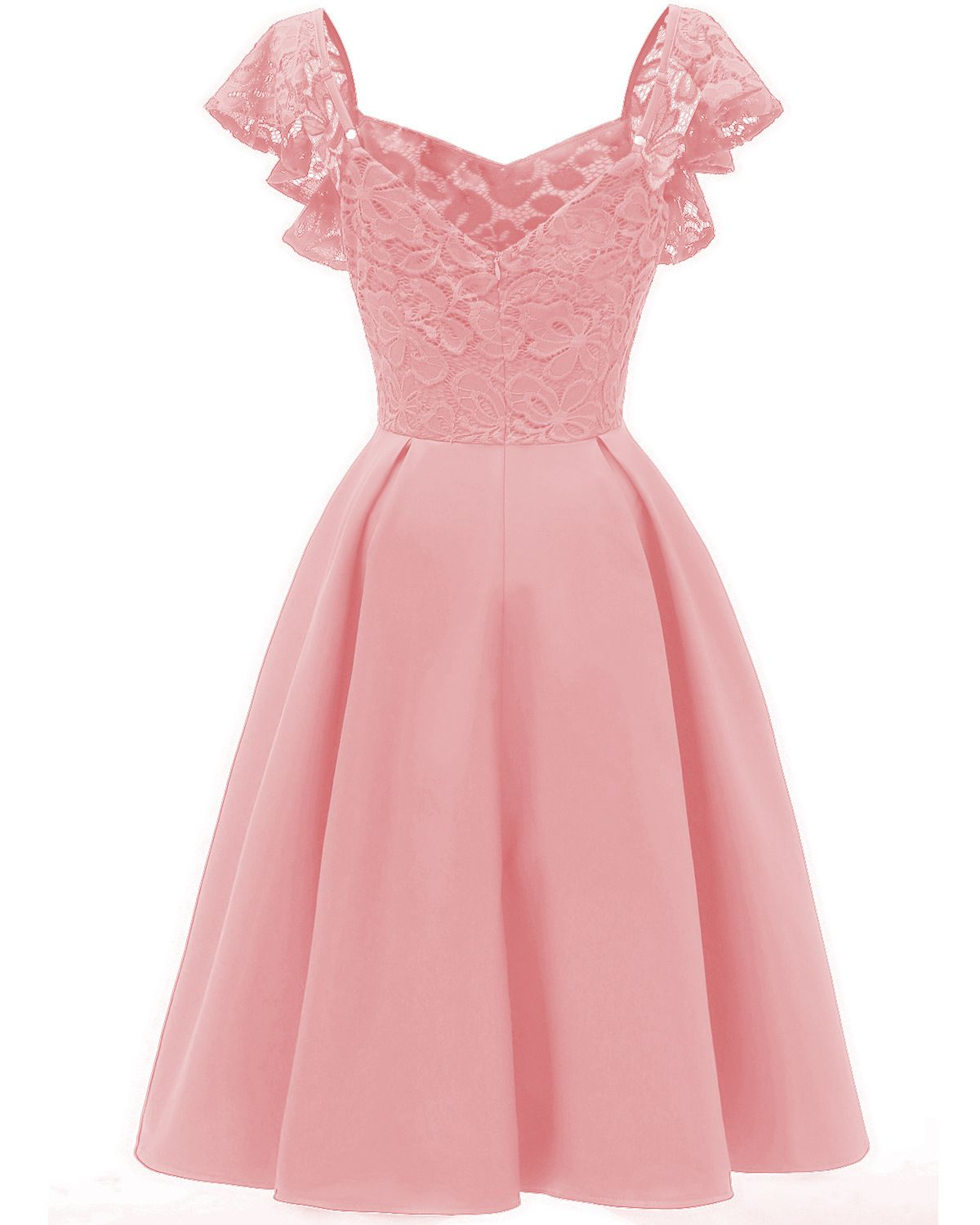 Women Casual Dress Vintage Ruffle Lace Cap Sleeve A Line Work Office Party Dress Pink Pink Prom Dresses Short Cocktail Dress Lace Chiffon Lace Dress [ 1500 x 1200 Pixel ]