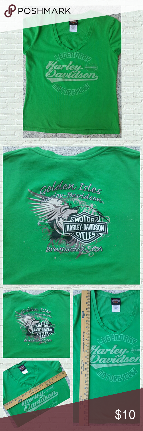 Harley Davidson Women's T-shirt Great used condition, beautiful green Harley Davidson fitted t-shirt. A must have for any St. Patrick's day celebration 😎 Size medium but is a fitted t-shirt please see pics for measurements.  100% cotton  Any reasonable offer will be considered  Comes from a smoke free home 🌸 Harley-Davidson Tops Tees - Short Sleeve