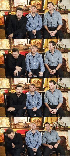 Andy Serkis, Martin Freeman, and Richard Armitage