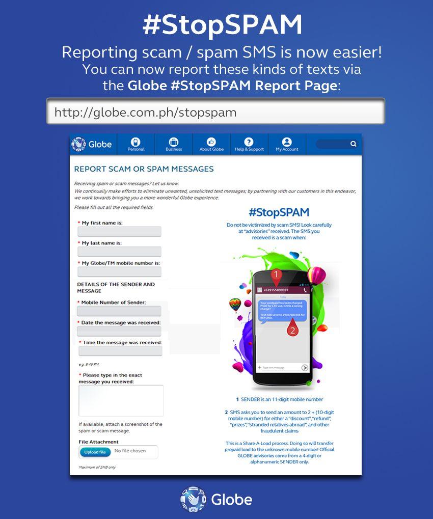 Globe StopSpam Web Reporting Tool Globe