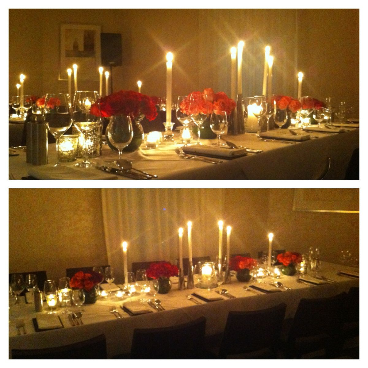Restaurant table setting ideas - Candles Pink Roses Table Setting Centrepiece Private Dining Room Birthday Dinner Wedding Eventscene Adelaide Chianti