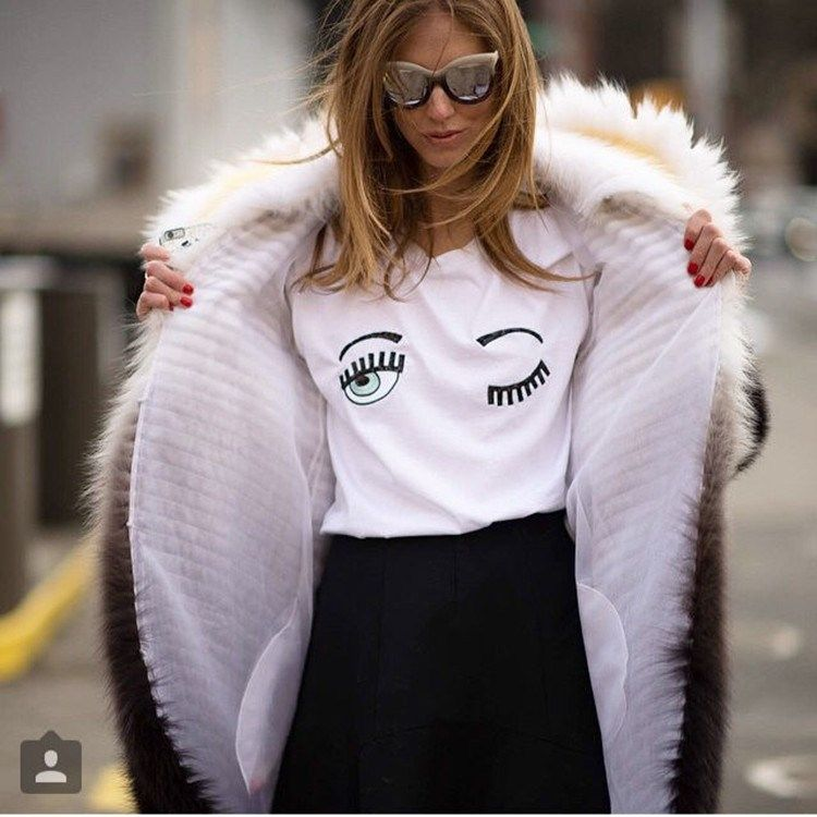 2016 New Fashion Summer Women T Shirts Chiara Ferragni Big Eyes Embroidery Sequins Loose Style Casual Tops maglietta di marca