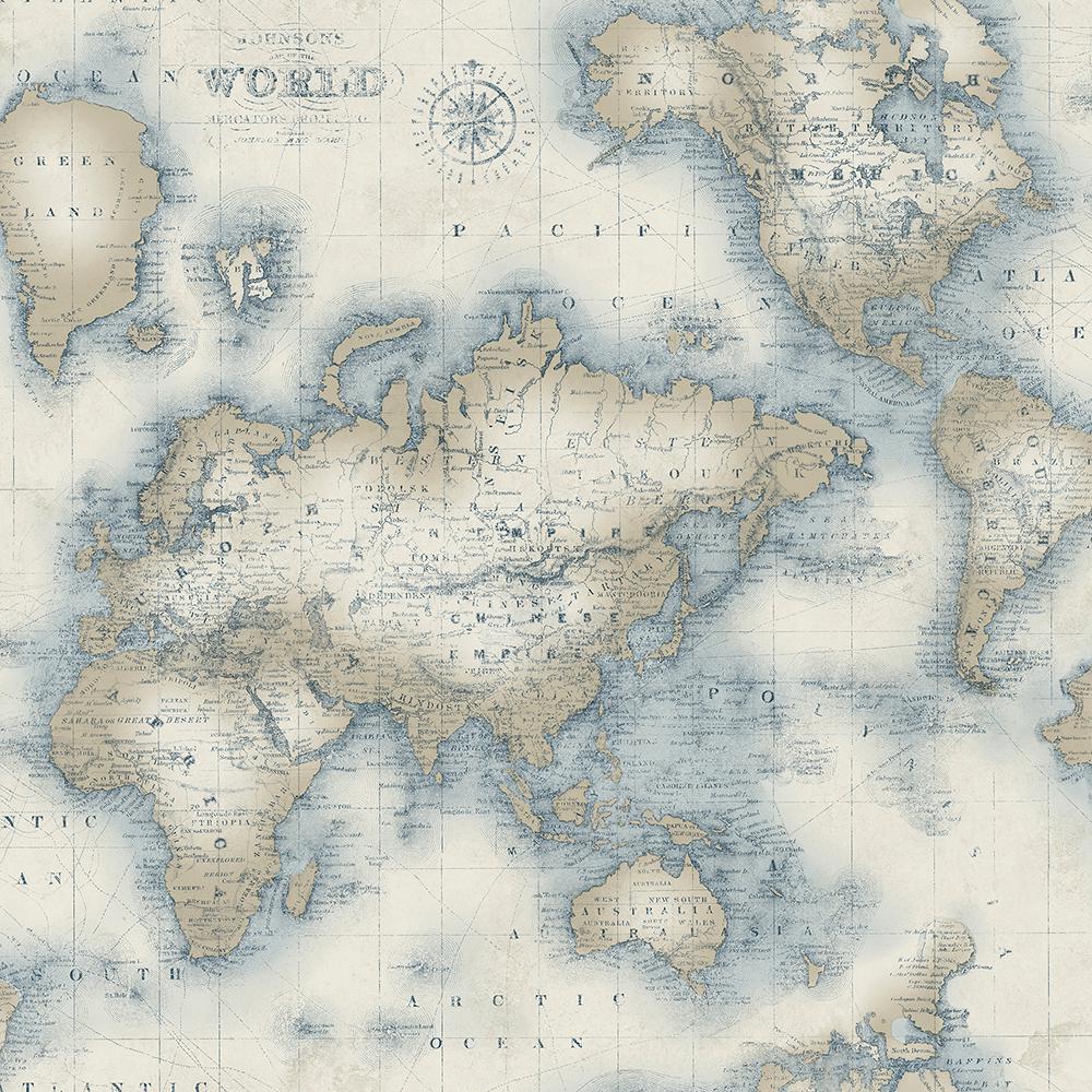 Chesapeake Mercator Cream World Map Wallpaper Sample Ivory