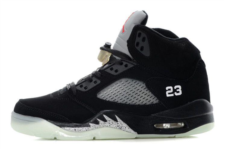 Jordans Shoes Air Jordan 5 Glow In The Dark Black Silver [Jordan 5 - This Jordan  5 colorway is retroing for the third time, offering a black nubuck upper ...