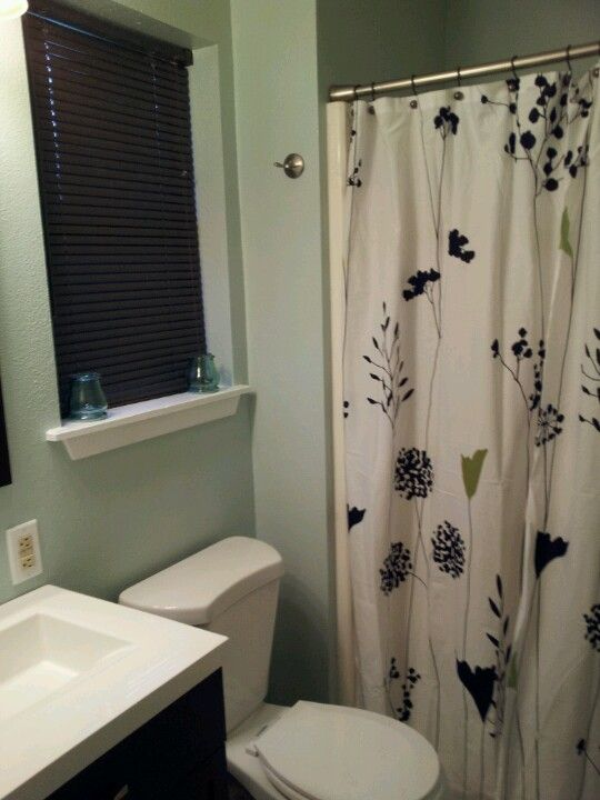 Small Bathroom With Frosted Jade Walls (Behr Paint From