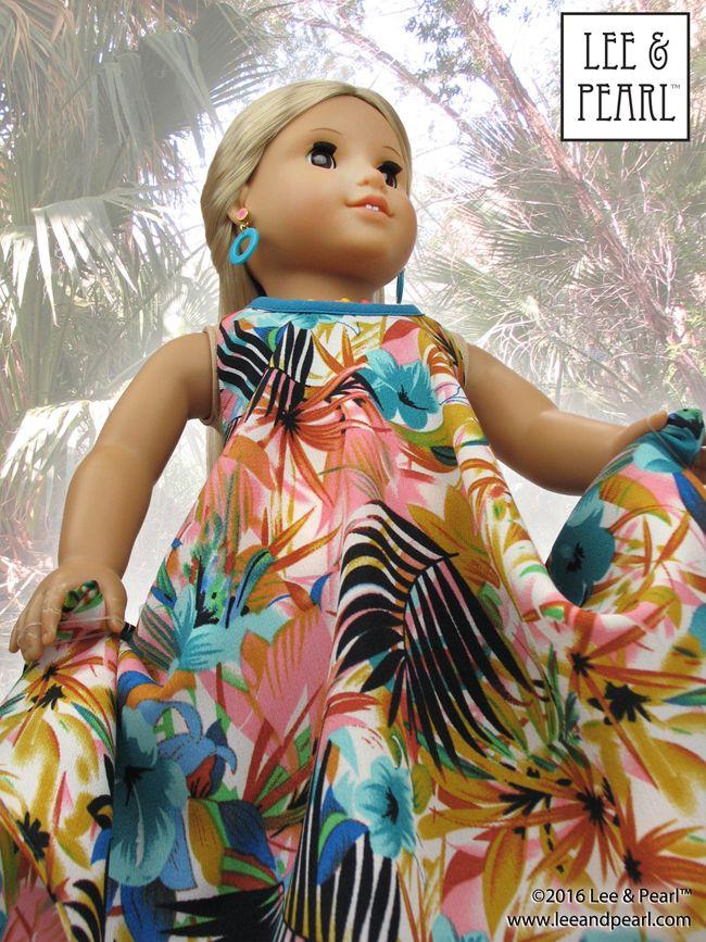 Girls maxi dress hawaiian print