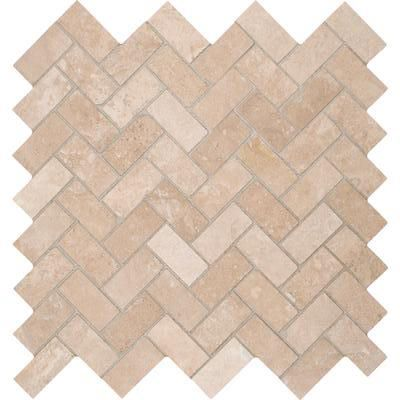 Tuscany Ivory Herringbone Honed Travertine Mosaic Tile