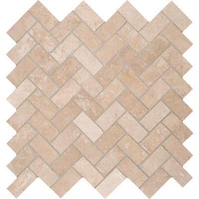 Tuscany Ivory Herringbone Honed Travertine Mosaic Tile Travertine Travertine Mosaic Tiles Mosaic Wall Tiles