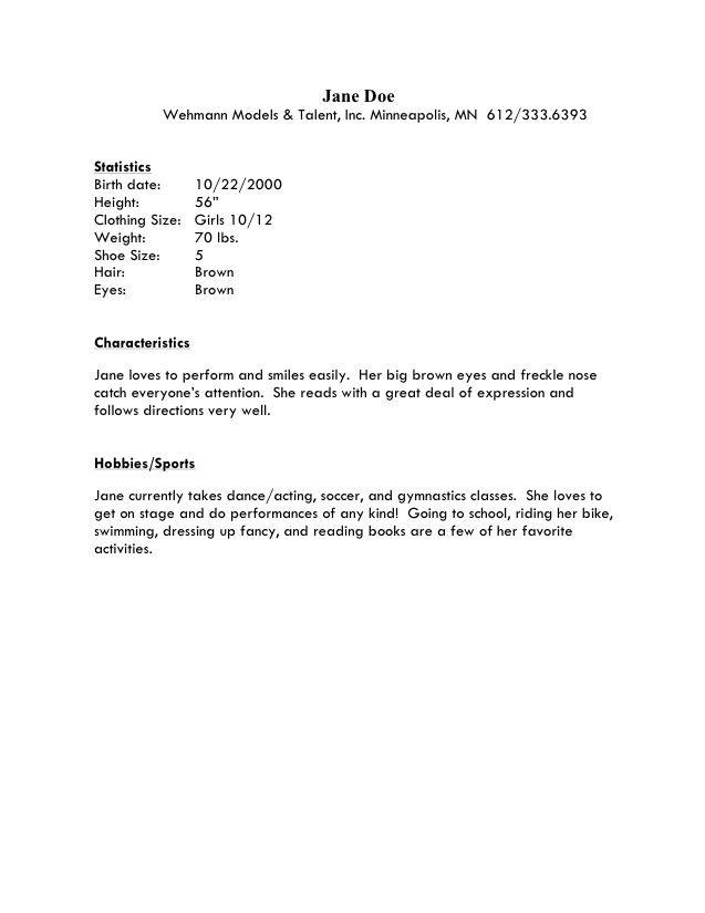 resume templates for kids template design child sample pertaini - Actors Resume Format