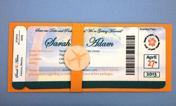 Plane Ticket Save the Date Beach Theme PRINTED VERSION 200 each - plane ticket template