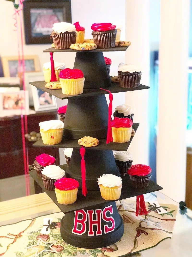 Create A Diy Graduation Cap Cupcake Stand And Cake Plate Creatively Beth Graduation Diy Graduation Cupcake Stand Diy Graduation Cap