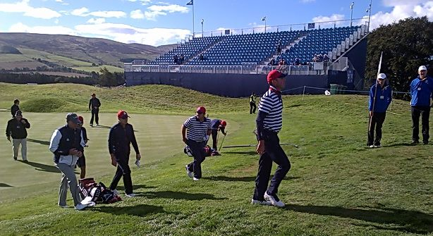 Team USA coming off the 3rd at a Practice day for The Ryder Cup 2014, Gleneagles | LTR Golf Trips