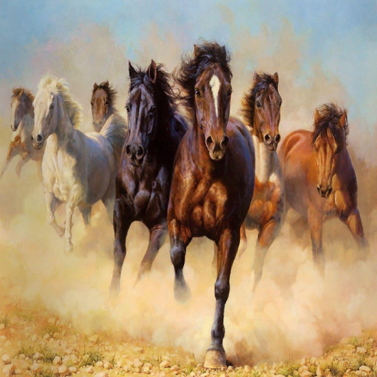 Wild Horses Running Free Coasters Set Of 4 Rubber Backed