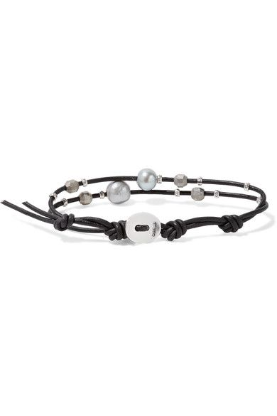 Chan Luu Leather Silver And Pearl Bracelet Black
