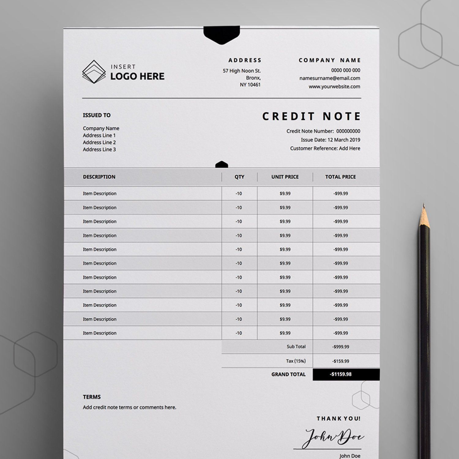 Refund Form Credit Note Template Debit Note Business Admin