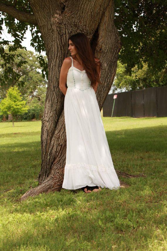 Vintage Gunne Sax 1970s Prairie Wedding Dress Maxi White