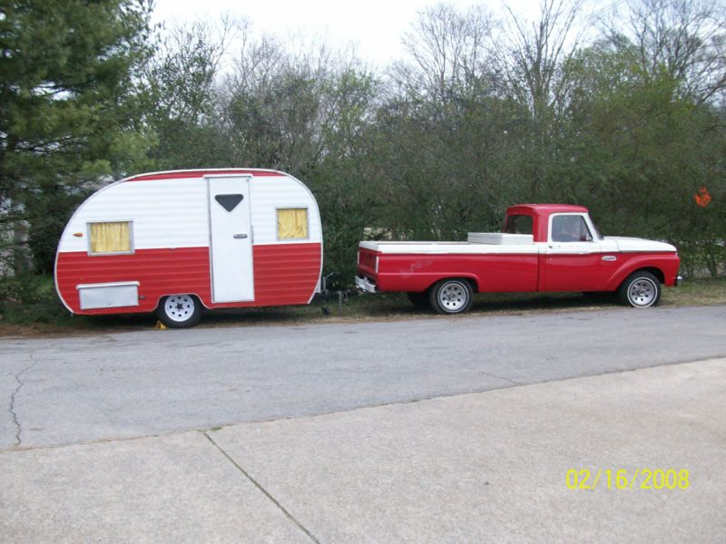 1965 Ford F 100 With Matching Camper 1965 Ford F100 Old Ford Trucks Vintage Trucks