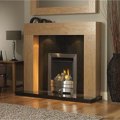 1 Silver Gas Fire Gas Black Granite Fireplace Oak Mantle Light