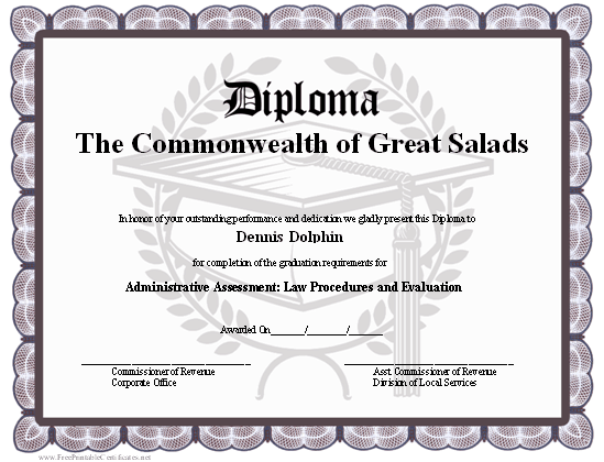 photo regarding Free Printable Diplomas identified as A one of a kind printable degree with a gray border and a