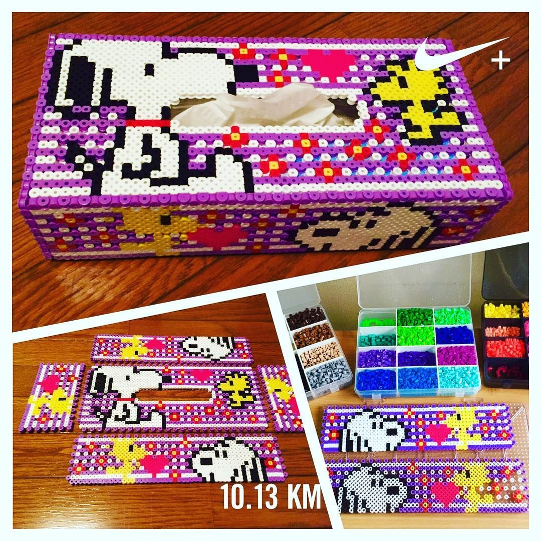 snoopy tissue box cover perler beads by yo si516 [ 1080 x 1080 Pixel ]