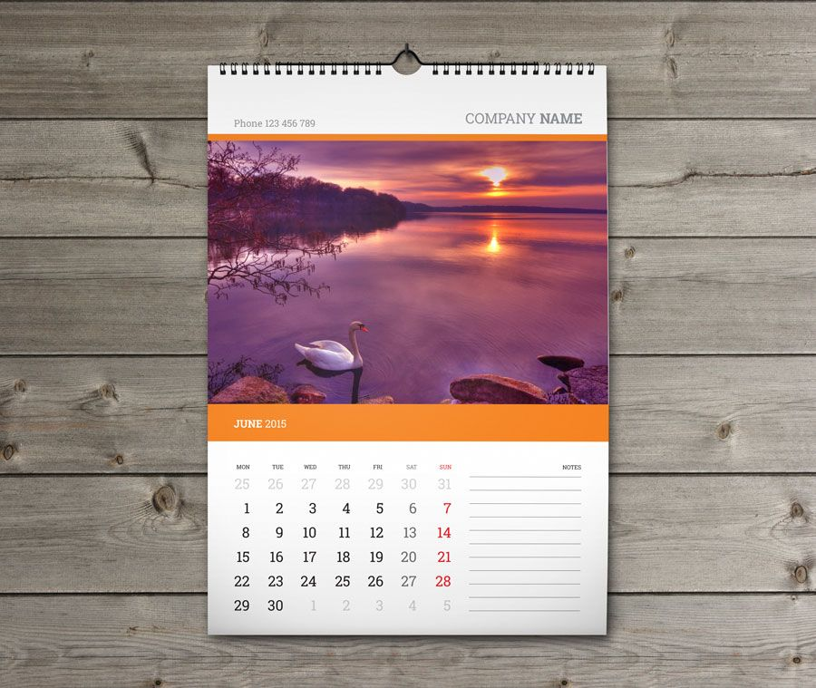 Template Kw W1 Monthly Wall Calendar 2015 Portrait Format Year