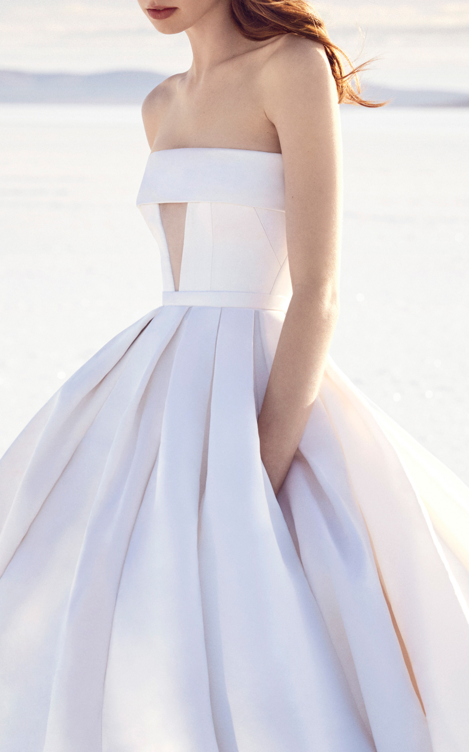 Riley Strapless Satin Cuff Gown by ALEX PERRY BRIDE for Preorder on ...