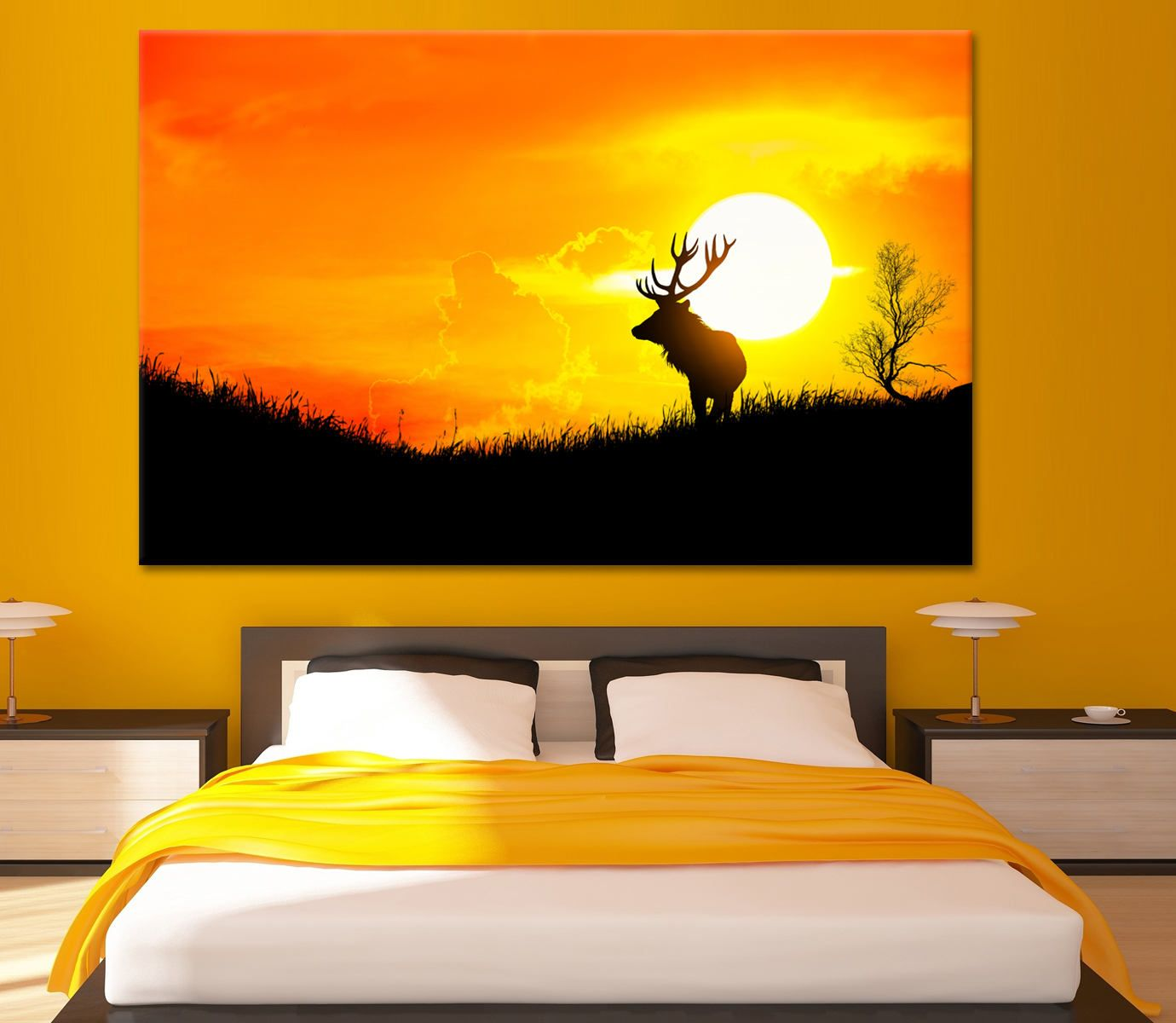 Sunrise art with Deer on meadow canvas print deer canvas art deer ...