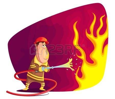 Ilustración de bomberos de extinción de incendios en el vector...