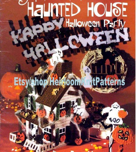 Haunted House Vintage Plastic Canvas Pattern PDF Halloween