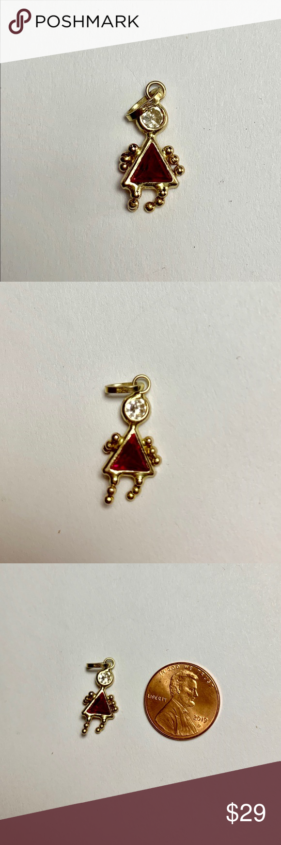 Real 10k Gold Birthstone Babies Girl Charm Red Girl Charm 10k Gold Cubic Zirconia Jewelry