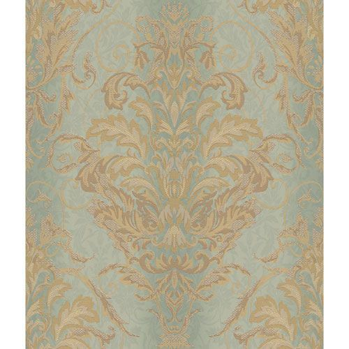 York Wallcoverings Charleston Aqua And Gold Ombre Damask