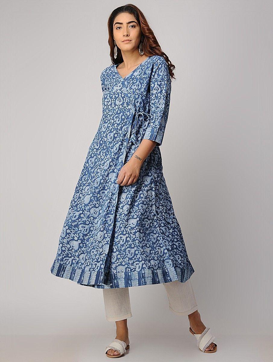 f4dc772e40 Buy Indigo Block printed Cotton Angrakha Kurta Women Kurtas Intrigue tunics  and pants for effortless days Online at Jaypore.com