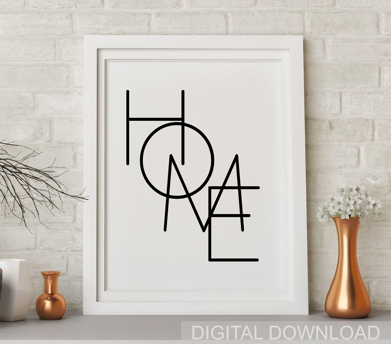 Home Print Home Sign Home Printable Wall Art Modern Home Etsy Word Wall Art Printable Wall Art Wall Printables