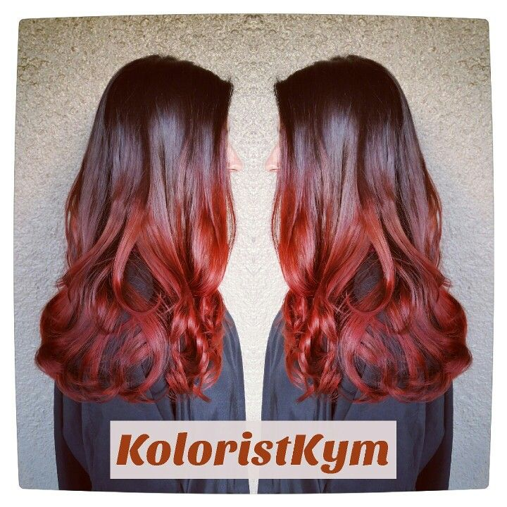 Red ombre balayage highlights hair color