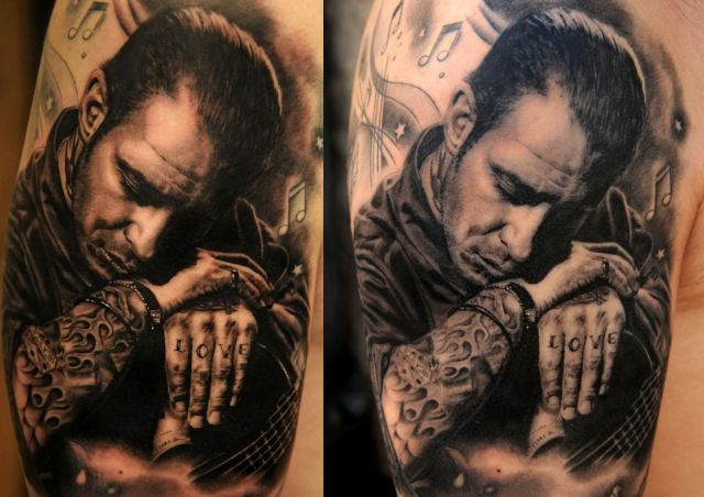 Tattoo by Andy Engel (new tattoo / healed tattoo) #InkedMagazine #blackandgrey #portrait #photorealistic #photorealism #tattoo #tattoos