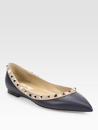 ce5c88f691e62 Reese Witherspoon owns these  Valentino  Rockstud Flats in Navy ...