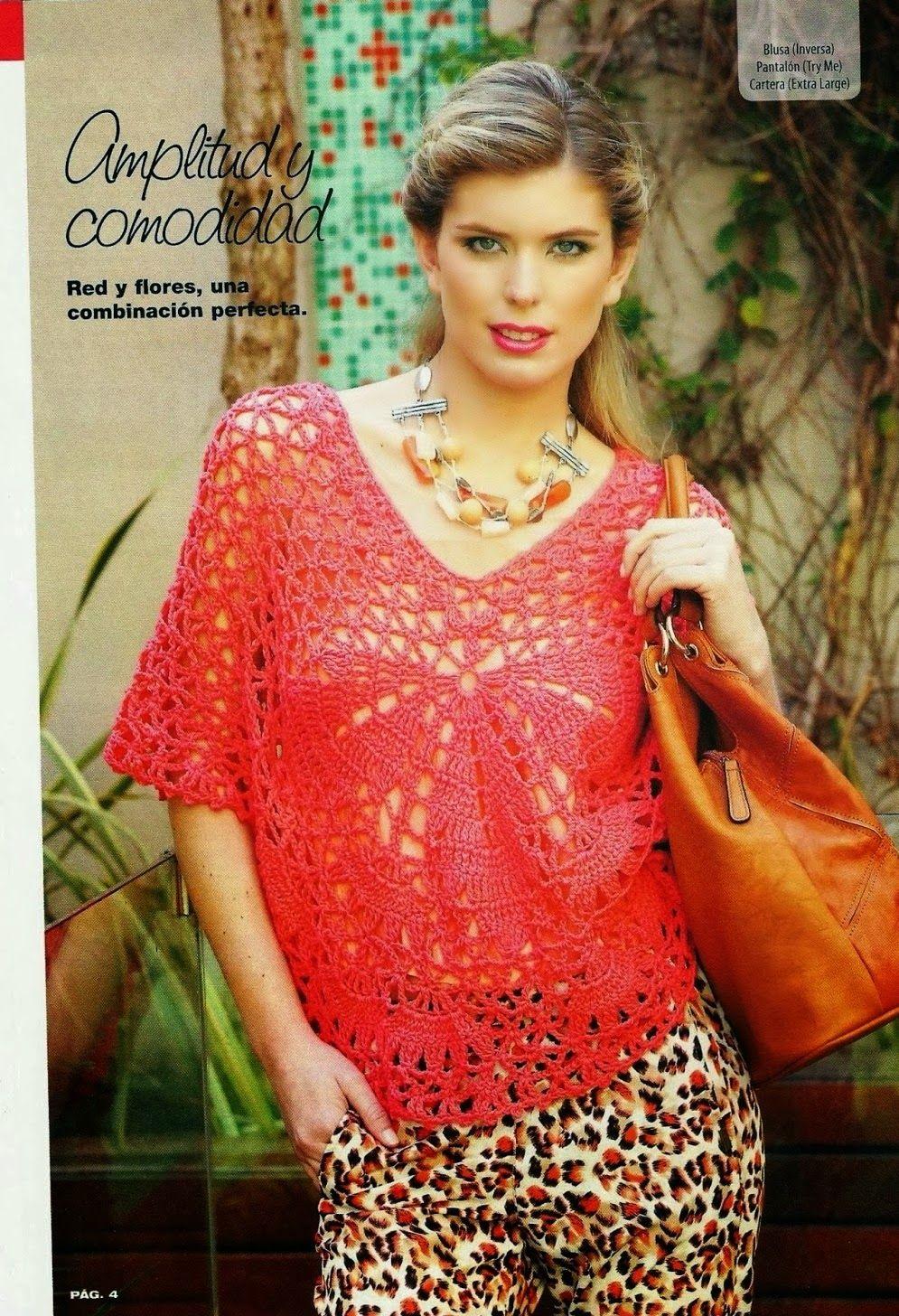 Jersey-Top Calado Patron e Instrucciones - Patrones Crochet ...