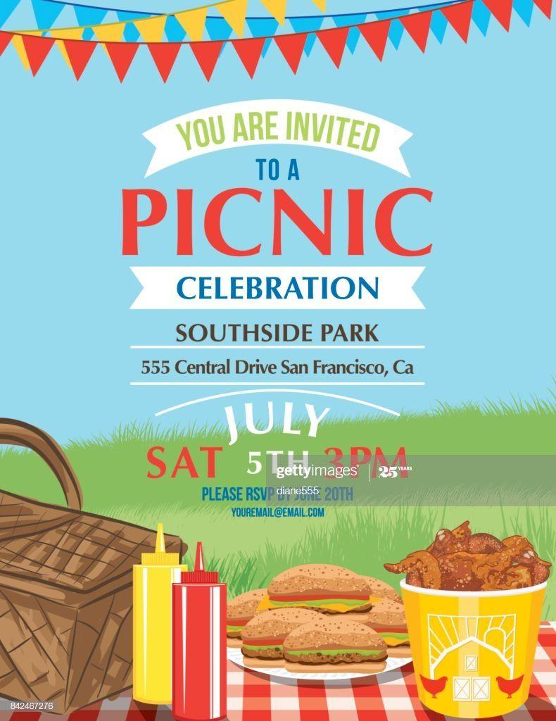 Cartoon Summer Picnic Invitation Template Picnic Invitations Bbq Invitation Invitation Template Company picnic flyer template free
