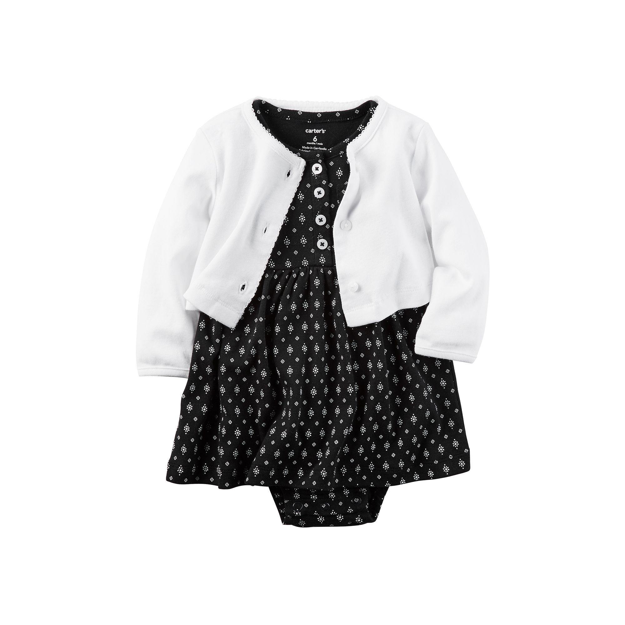 Baby Girl Carter s Bodysuit Dress & Cardigan Set Size 3 Months