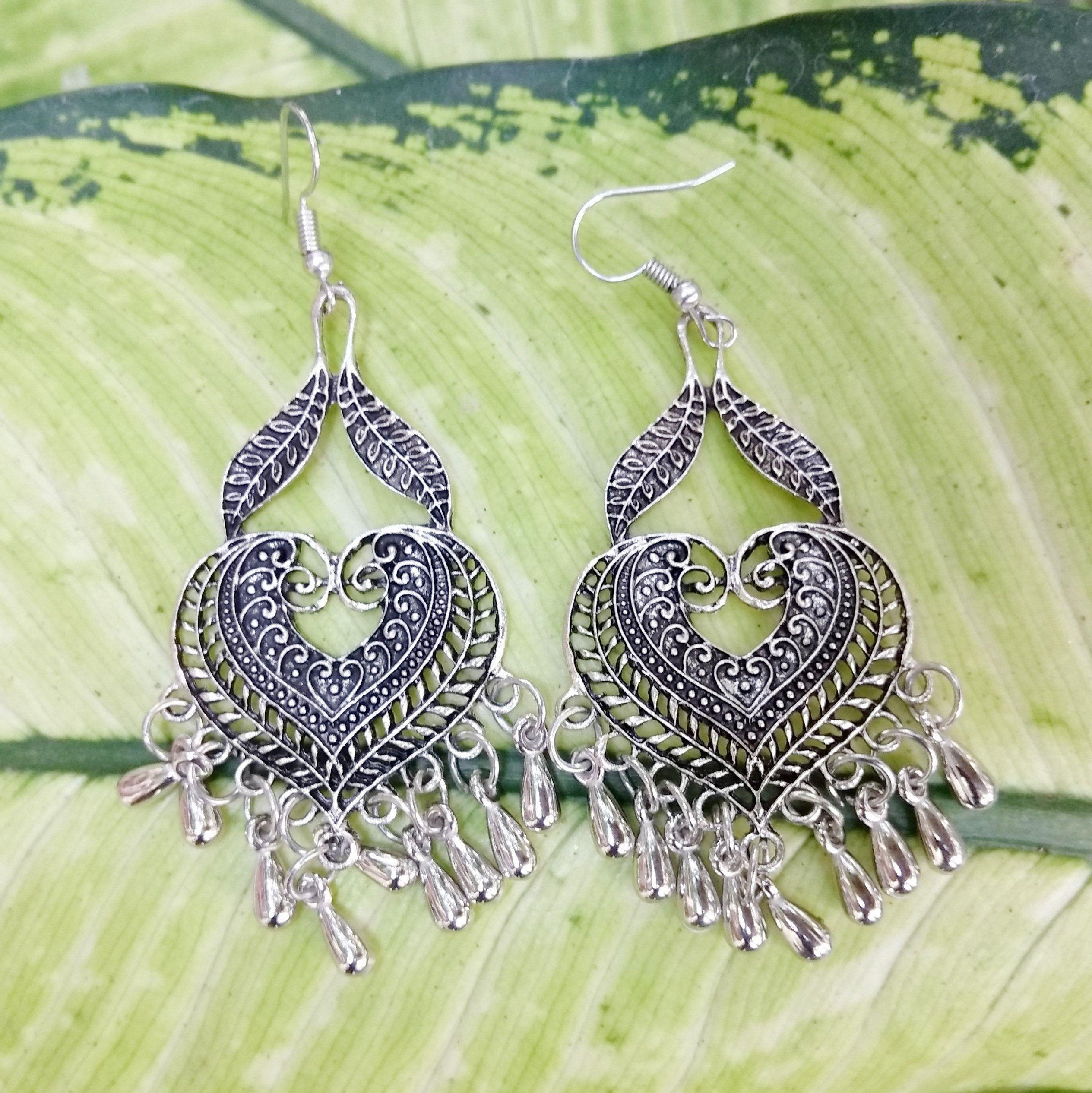c913d3128 Large chunky Indian long earrings,Big silver dangle earrings for  women,Indian tribal gypsy jewellery,Vintage style ethnic bohemian earrings.