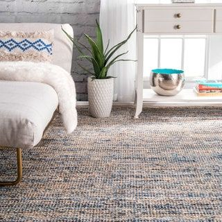 For Nuloom Handmade Flatweave Natural Fiber Jute And Denim Rug 4 X 6 Get Free Shipping At Your Online Home Decor Outlet S