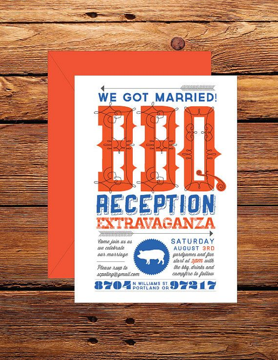 Casual customizable bbq wedding reception by SRinvitations on Etsy - invitation wording for elopement party