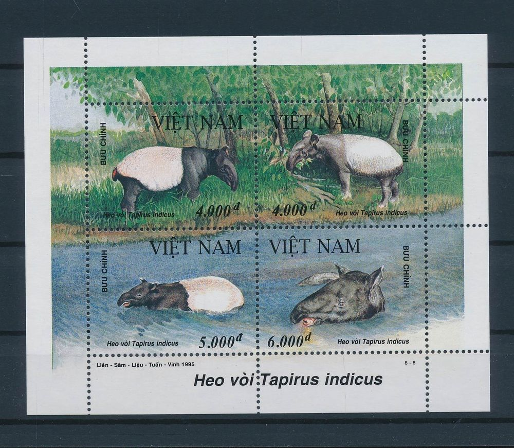 LE85108 Vietnam 1995 tapir animals fauna wildlife good sheet MNH