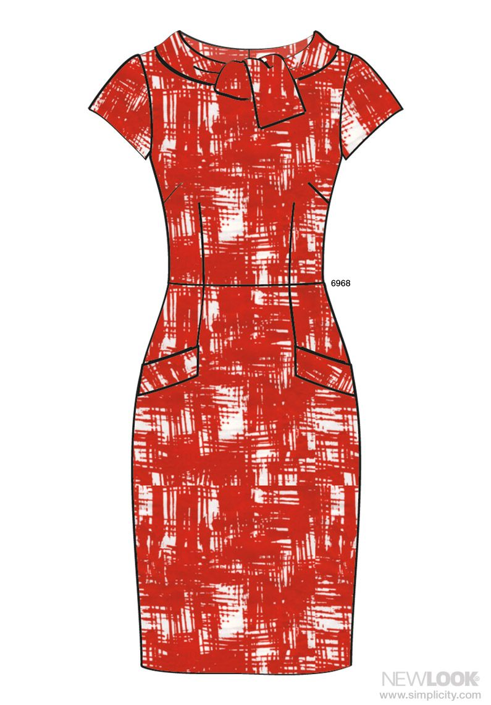 New Look 6968, View C, 3 or 2 1/8 (Cottons, Lightweight Denim, Wool Crepe, Silks, Brocade, Shantung, Lightweight Linen) #missing