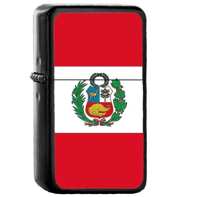 Peru Country National Emblem Flag Oil Flip Top Black