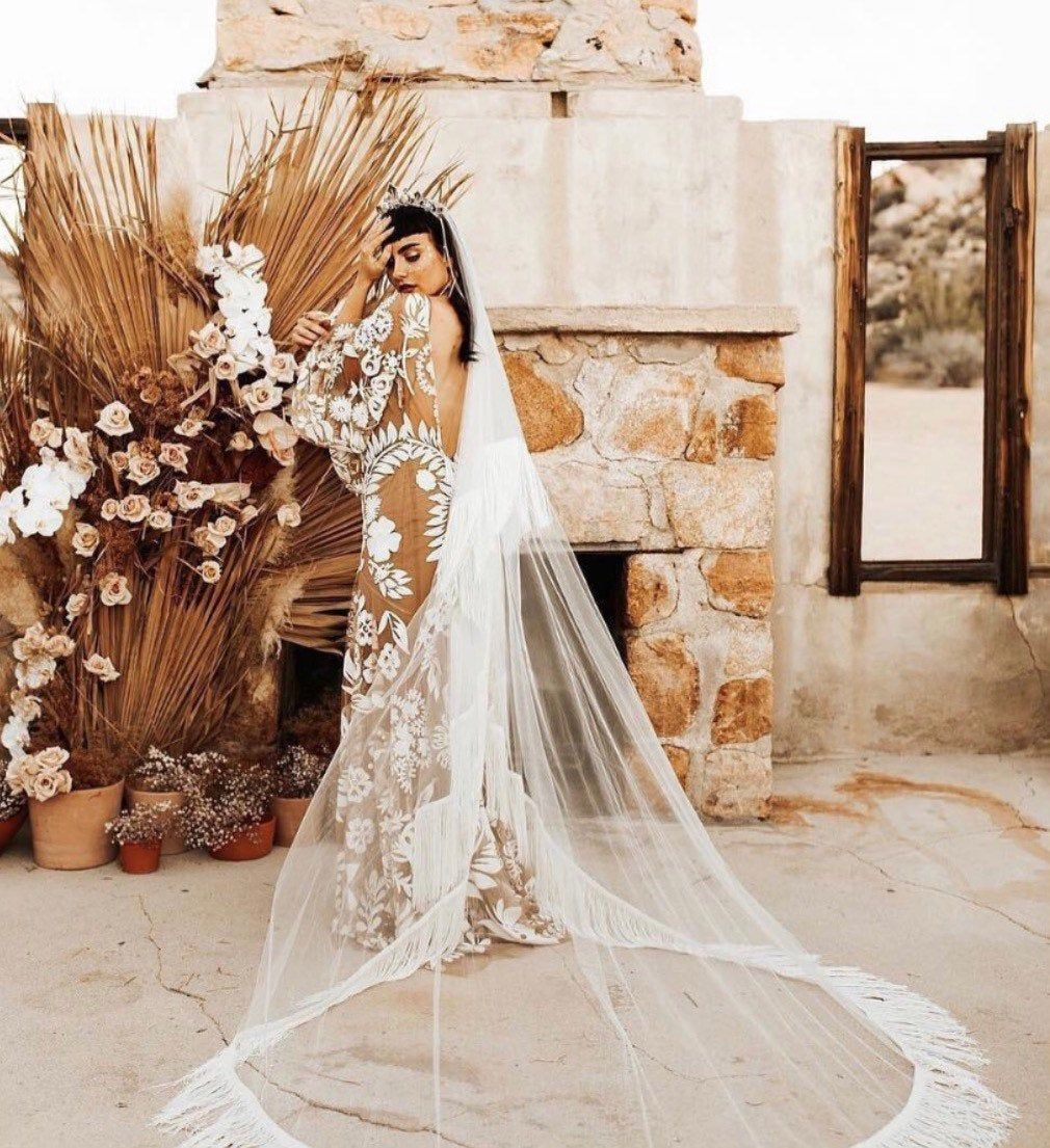 Elegant Tulle Drop Wedding Veil, Ivory Fringe Veil