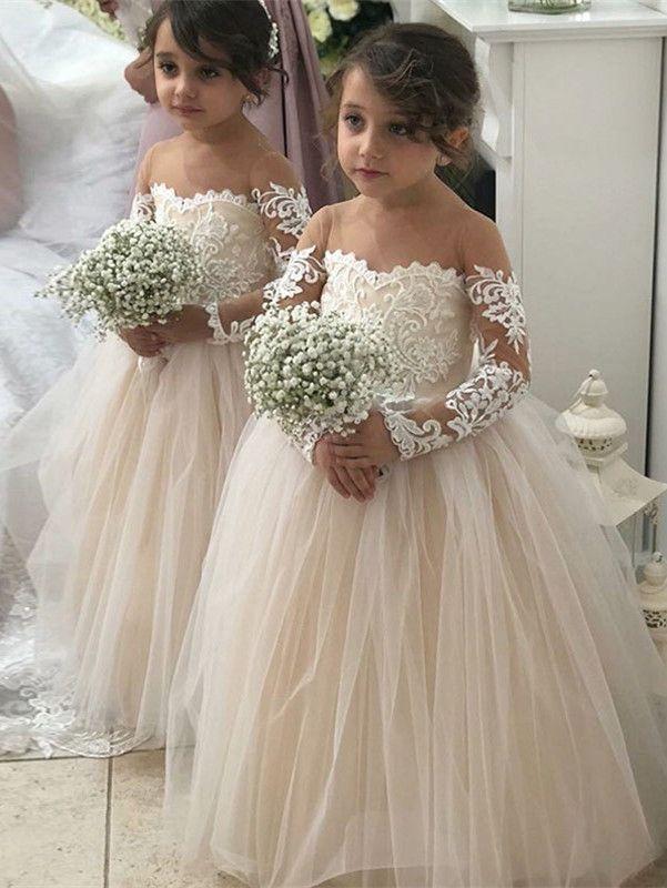 60425f5f571 Lovely Long Sleeves Lace Flower Girl Dress