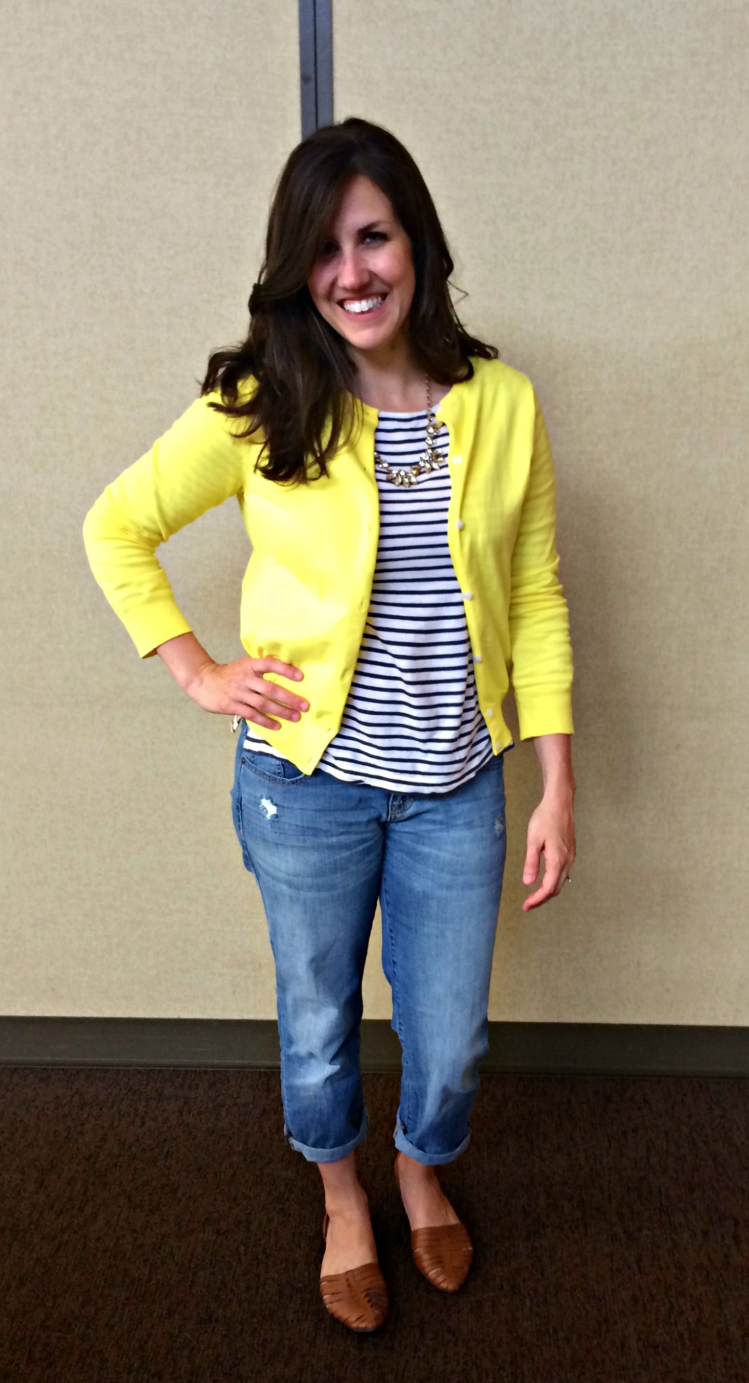 Real Mom Style: Yellow Cardigan & Stripes - momma in flip flops ...