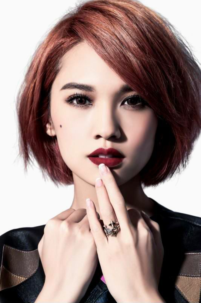 Sultry Layers With A Side Fringe And Root Volume Short Asian