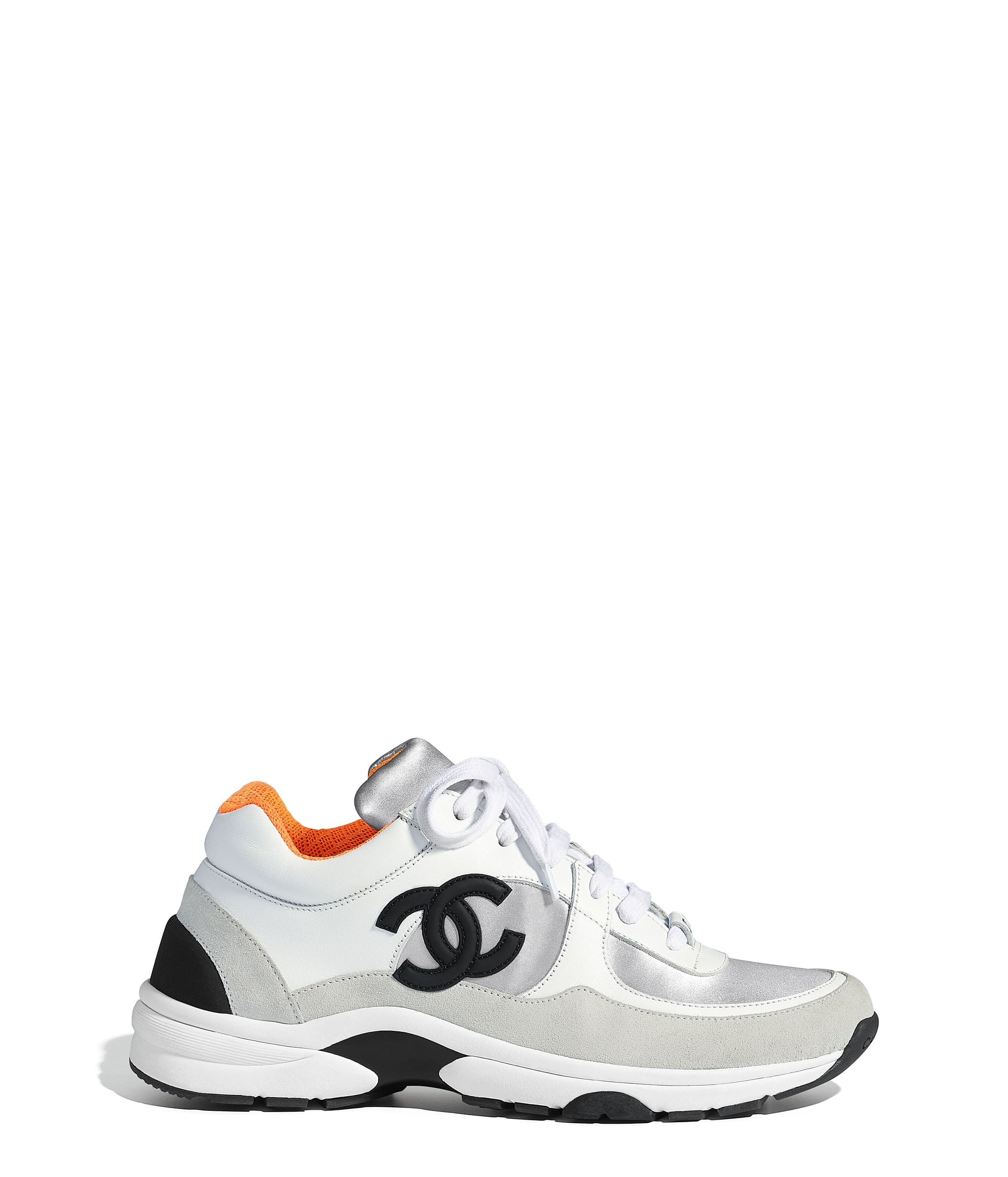 2395d7315 Sneakers, calfskin & fabric, white, silver & orange - CHANEL | Shoes ...